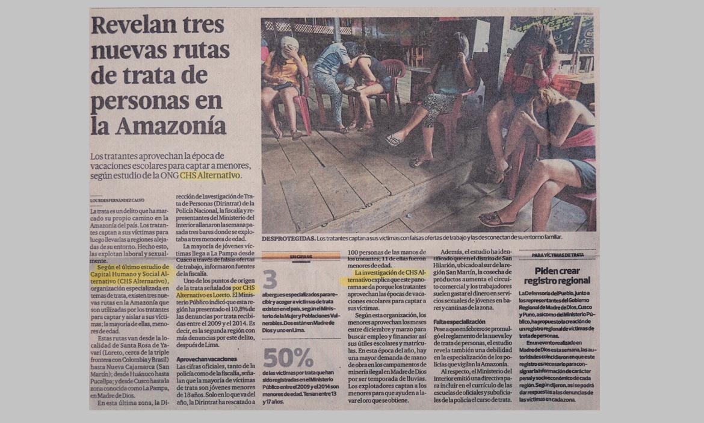 Revelan tres nuevas rutas de trata de personas en la Amazonía