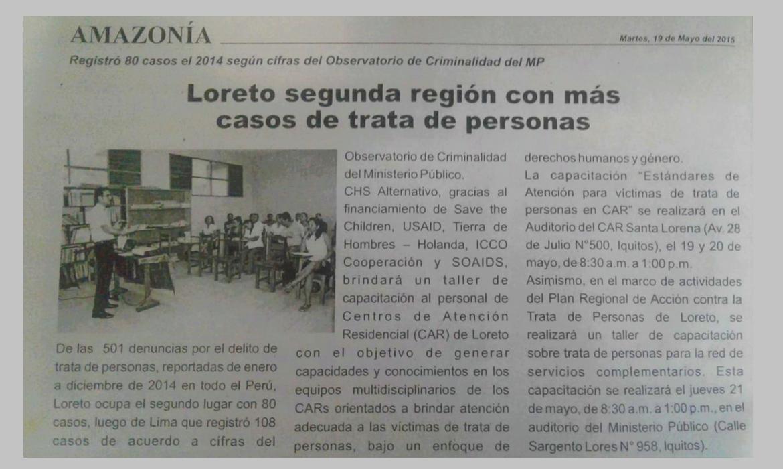 Loreto segunda región con más casos de trata de personas