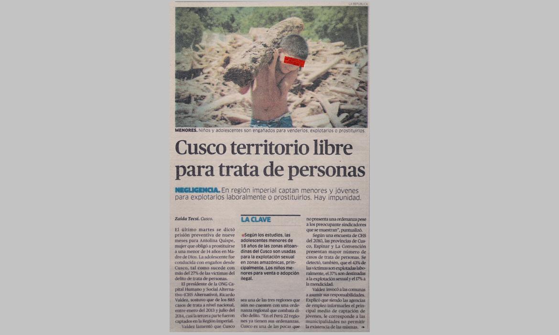 Cusco territorio libre para trata de personas