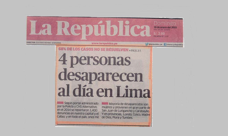 4 personas desaparecen al día en Lima