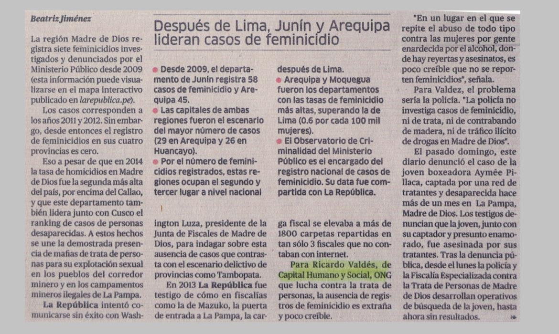Después de Lima, Junín y Arequipa lideran casos de feminicidios
