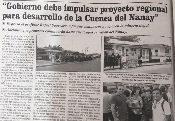 Gobierno debe impulsar proyecto regional para desarrollo de la Cuenca del Nanay