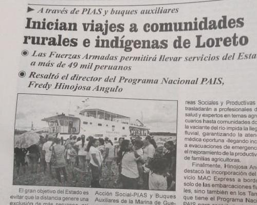 Inician viajes a comunidades rurales e indígenas de Loreto