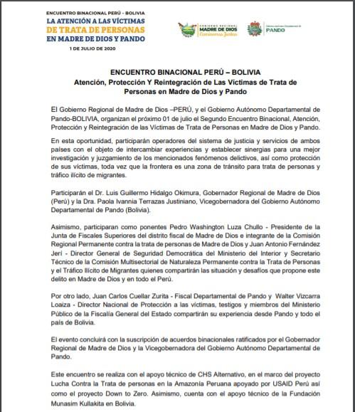 ENCUENTRO BINACIONAL PERÚ – BOLIVIA:         Atención, Protección Y Reintegración de Las Víctimas de Trata de Personas en Madre de Dios y Pando