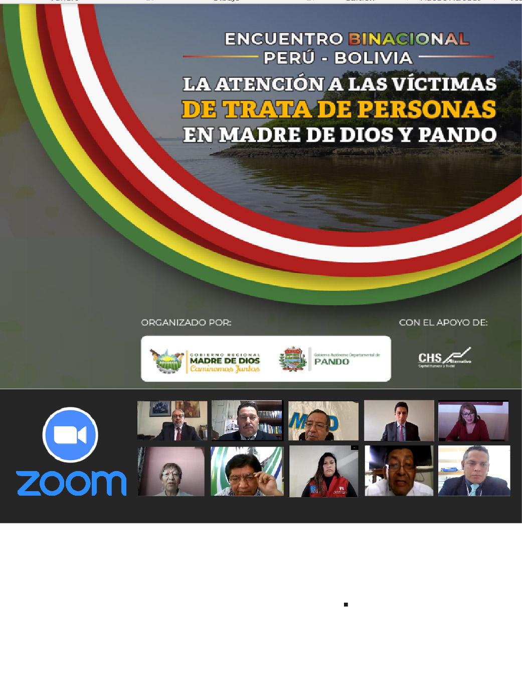 ENCUENTRO BINACIONAL PERÚ – BOLIVIA Atención, Protección Y Reintegración de Las Víctimas de Trata de Personas en Madre de Dios y Pando