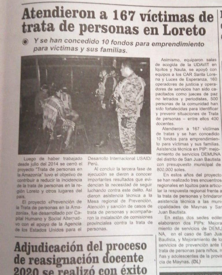 Loreto: atendieron a 167 víctimas de trata de personas