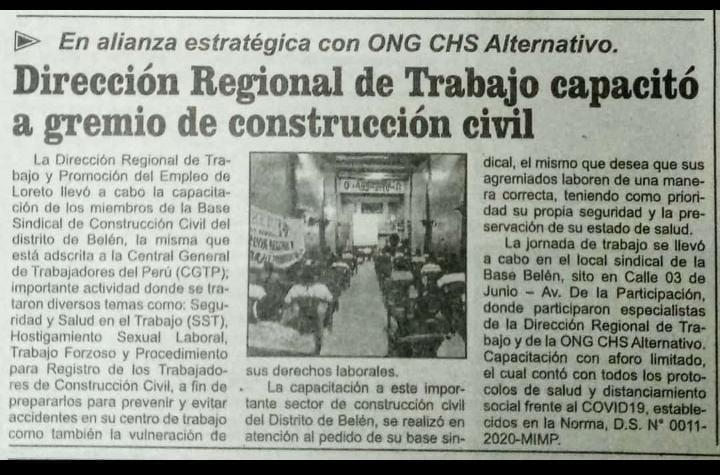 Dirección Regional de Trabajo capacitó a gremios de construcción civil