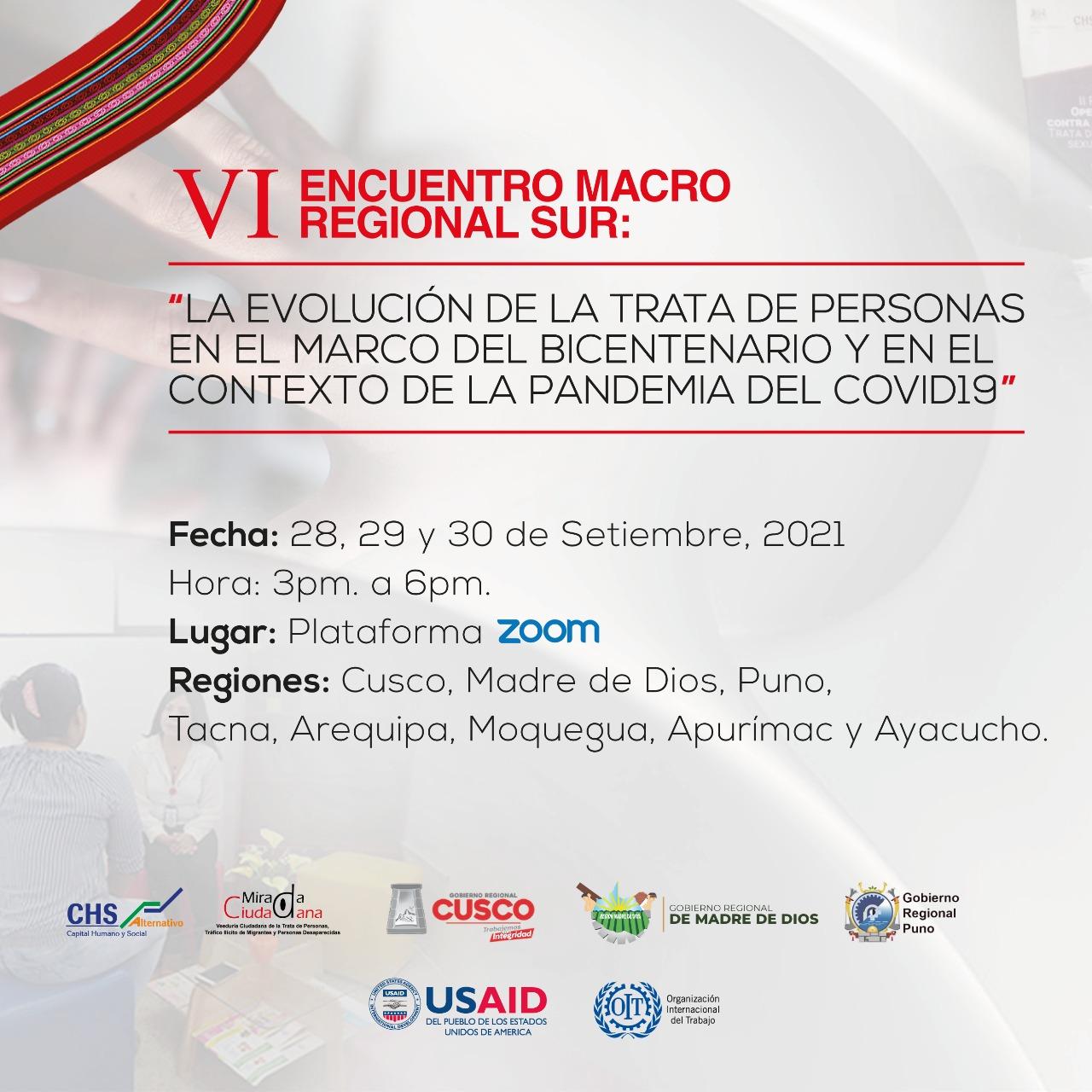 CHS Alternativo realizará VI Encuentro Macrorregional Sur sobre la trata de personas