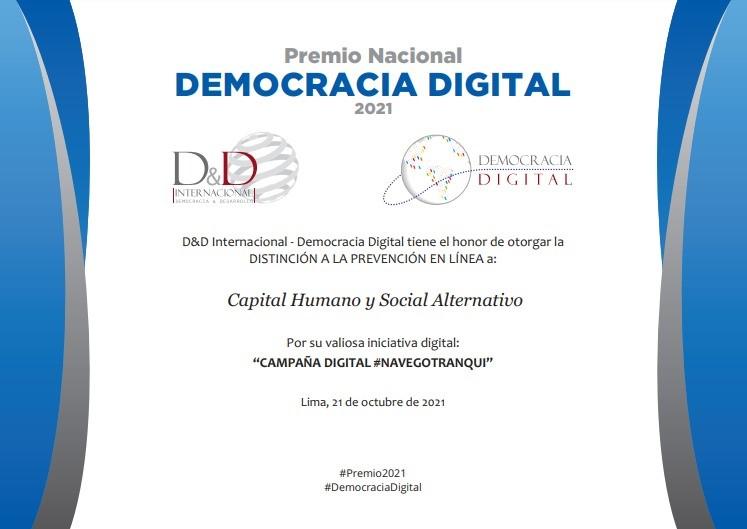 """Campaña digital """"Navego tranqui"""" de CHS Alternativo recibe reconocimiento por su labor de prevención de la violencia en línea"""